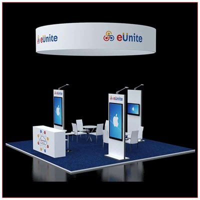 20x20 Trade Show Booth Rental Package 411 - Angle View - LV Exhibit Rentals in Las Vegas
