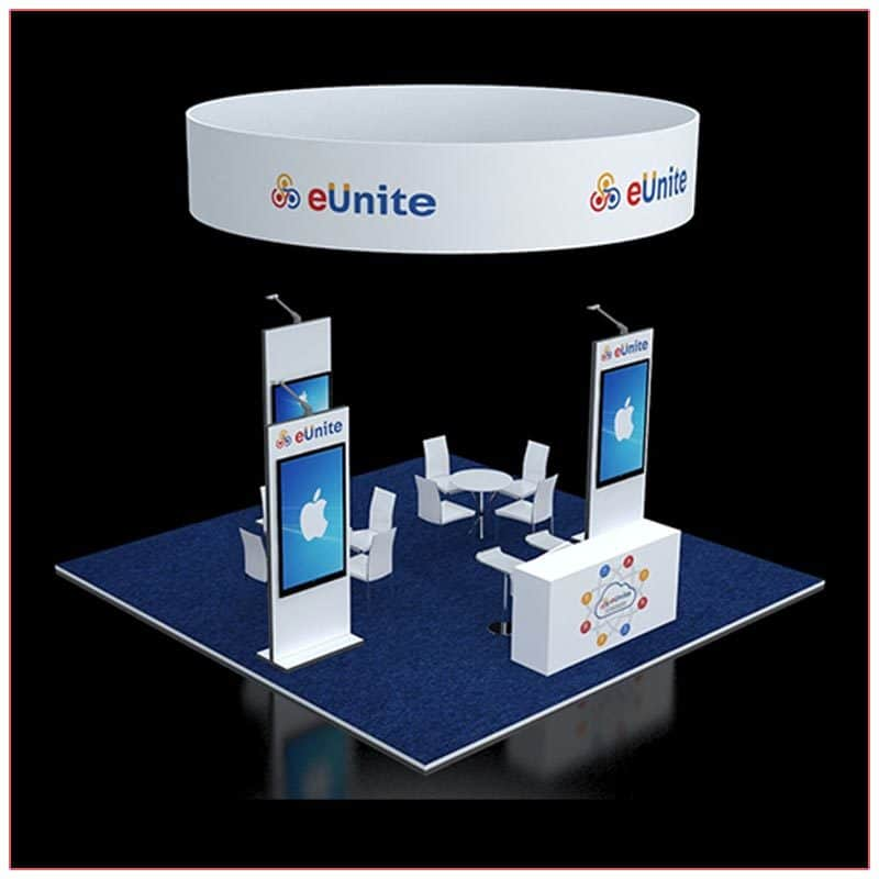 20x20 Trade Show Booth Rental Package 411 - Front Angle View - LV Exhibit Rentals in Las Vegas