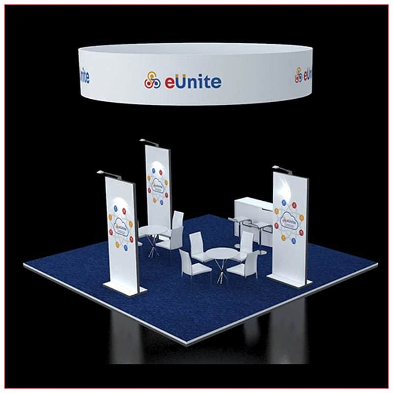 20x20 Trade Show Booth Rental Package 411 - Rear Angle View - LV Exhibit Rentals in Las Vegas