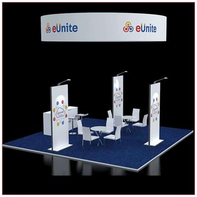 20x20 Trade Show Booth Rental Package 411 - Side Rear View - LV Exhibit Rentals in Las Vegas