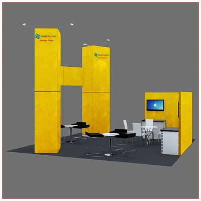 20x20 Trade Show Booth Rental Package 412 - Rear View - LV Exhibit Rentals in Las Vegas