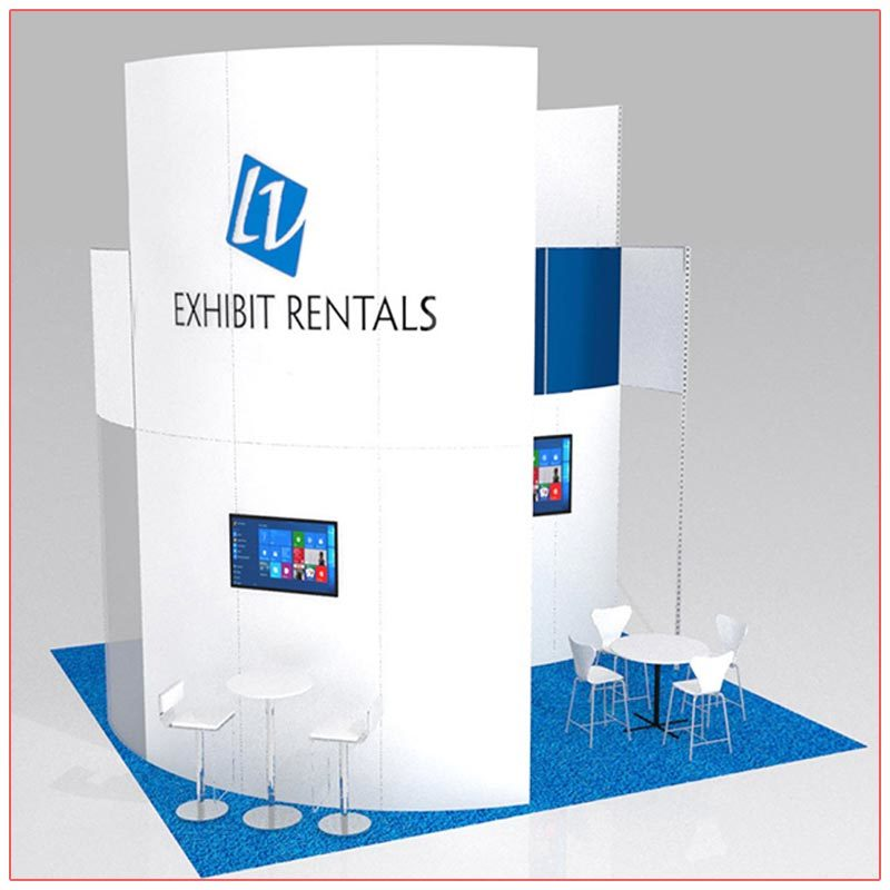 20x20 Trade Show Booth Rental Package 413 - Front View - LV Exhibit Rentals in Las Vegas