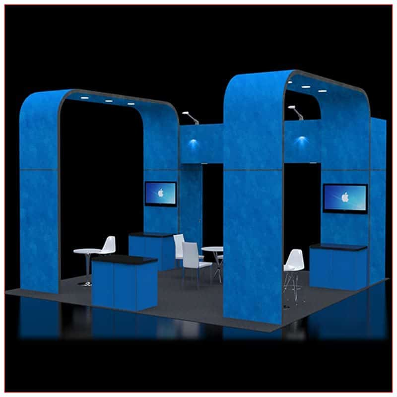 20x20 Trade Show Booth Rental Package 414 - Angle View - LV Exhibit Rentals in Las Vegas