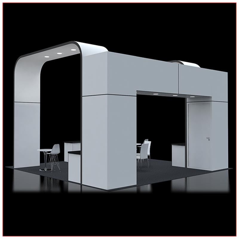 20x20 Trade Show Booth Rental Package 414 - Rear View - LV Exhibit Rentals in Las Vegas