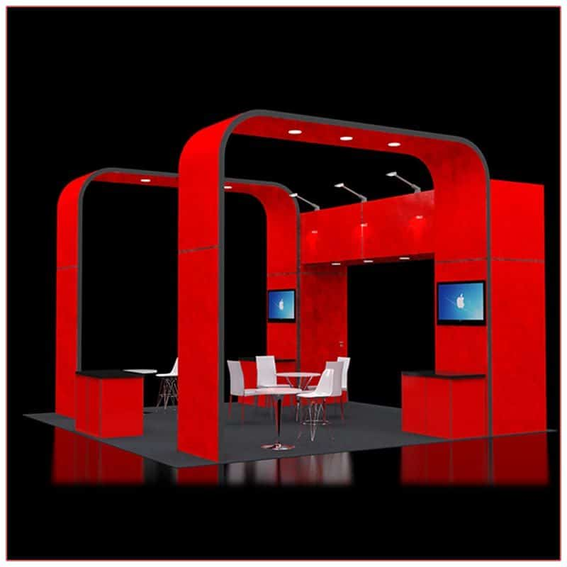 20x20 Trade Show Booth Rental Package 414 - Side Angle View - LV Exhibit Rentals in Las Vegas