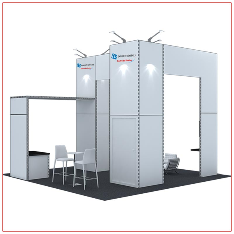 20x20 Trade Show Booth Rental Package 415 - Rear View - LV Exhibit Rentals in Las Vegas
