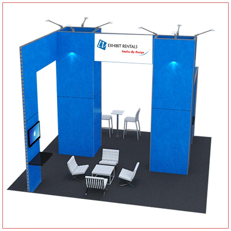 20x20 Trade Show Booth Rental Package 415 - Top-Angle View - LV Exhibit Rentals in Las Vegas
