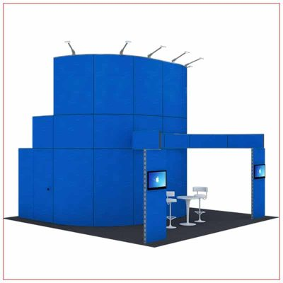 20x20 Trade Show Booth Rental Package 416 - Front Angle View - LV Exhibit Rentals in Las Vegas