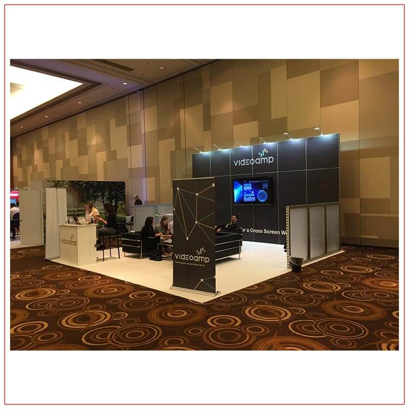 20x20 Trade Show Booth Rental Package 417 - Front Angle View - LV Exhibit Rentals in Las Vegas