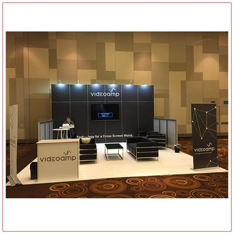 20x20 Trade Show Booth Rental Package 417 - Front View - LV Exhibit Rentals in Las Vegas