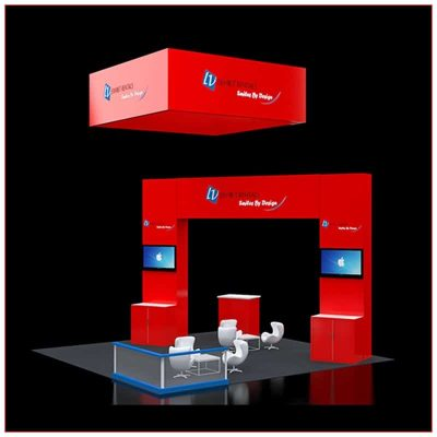 20x20 Trade Show Booth Rental Package 418 - Angle View - LV Exhibit Rentals in Las Vegas