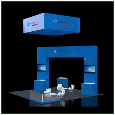20x20 Trade Show Booth Rental Package 418 - Front Angle View - LV Exhibit Rentals in Las Vegas