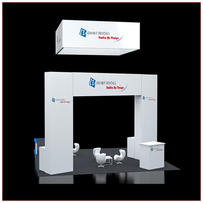 20x20 Trade Show Booth Rental Package 418 - Rear View - LV Exhibit Rentals in Las Vegas