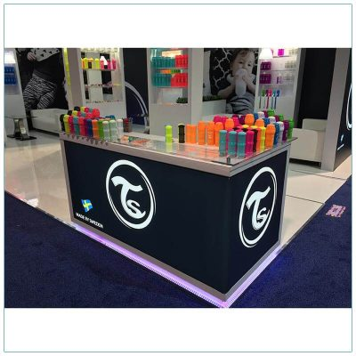 20x30 Trade Show Booth Rental Package 500 - Custom Reception Counter - LV Exhibit Rentals in Las Vegas