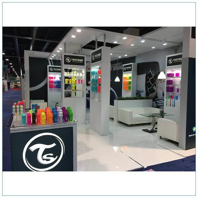 20x30 Trade Show Booth Rental Package 500 - Side View - LV Exhibit Rentals in Las Vegas