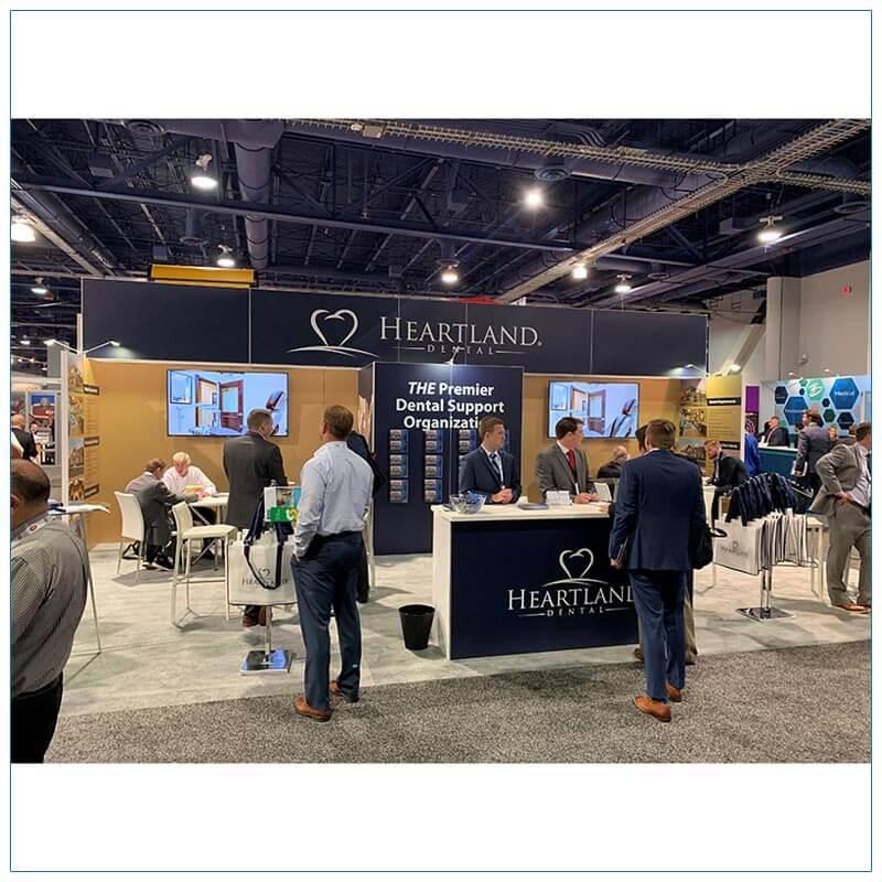 20x30 Trade Show Booth Rental Package 501 - Heartland Dental - Recon 2019 - Front - LV Exhibit Rentals in Las Vegas