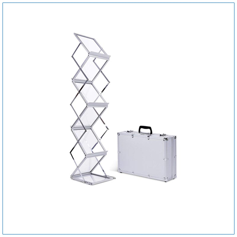 Accordion 6-Pocket Literature Rack with Case - LV Exhibit Rentals in Las Vegas