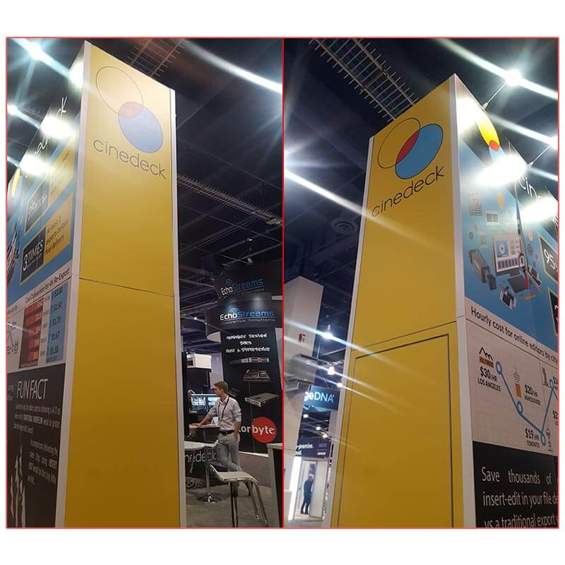 Cinedeck - NAB 2019 - 20x20 Trade Show Booth Rental Package 406 -Tower Sides - LV Exhibit Rentals in Las Vegas