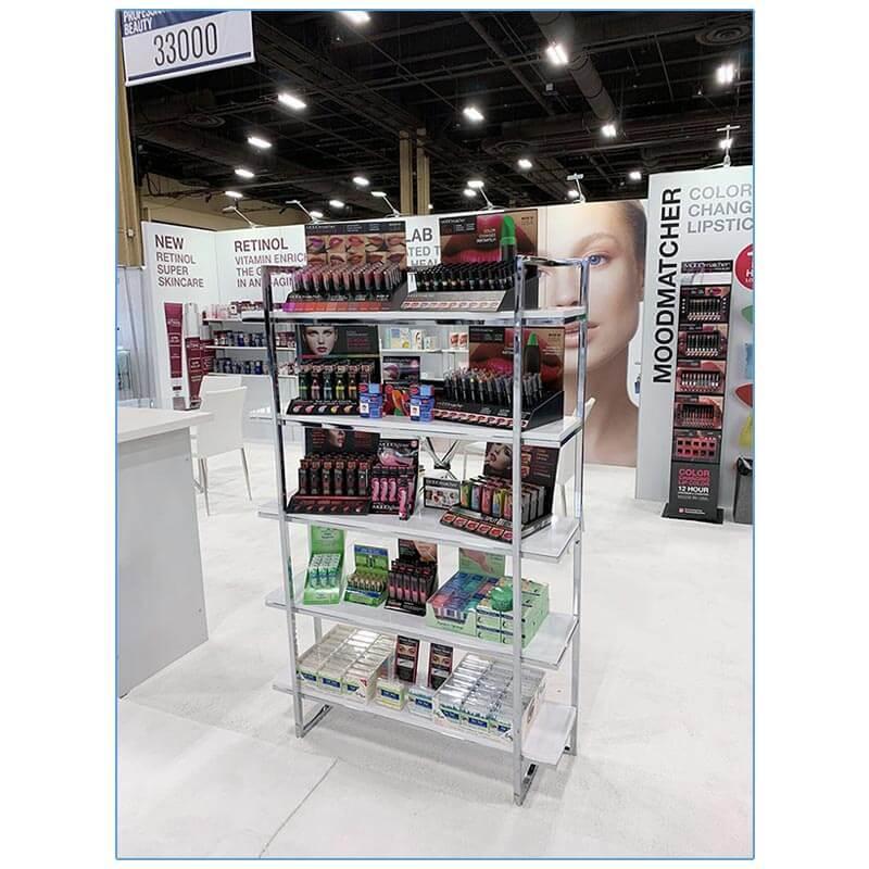 Gilbert Shelves - White - Cosmoprof 2019 - LV Exhibit Rentals in Las Vegas