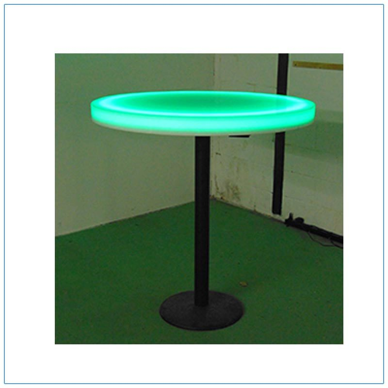 Glow LED 30in Round Cafe Table - Green - LV Exhibit Rentals in Las Vegas