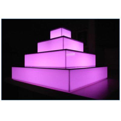 Glow LED 4-Tier Riser Close Up - LV Exhibit Rentals in Las Vegas
