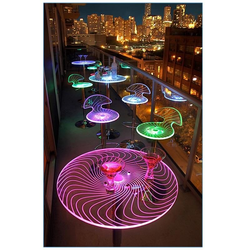 Glow LED Spiral Bar Stools and Bar Tables - LV Exhibit Rentals in Las Vegas