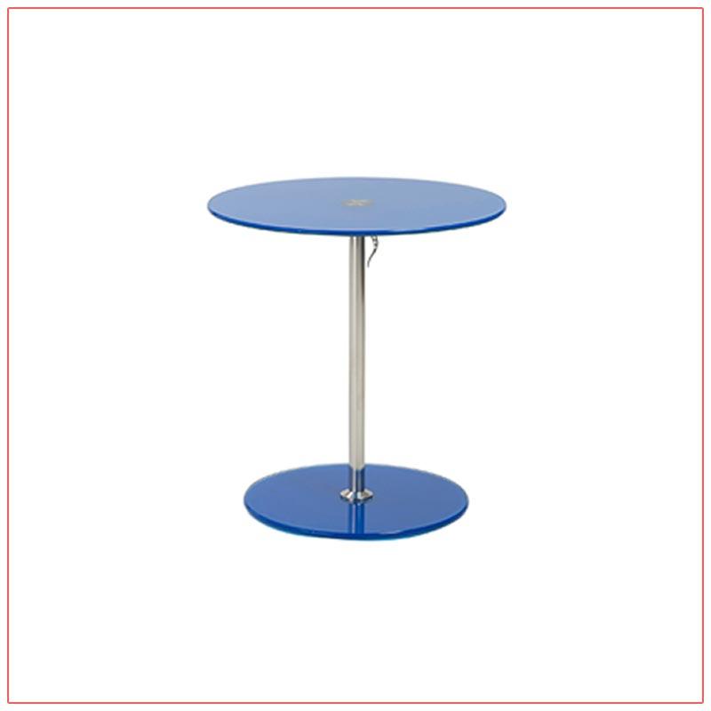 Radin Adjustable End Tables - Blue - LV Exhibit Rentals in Las Vegas