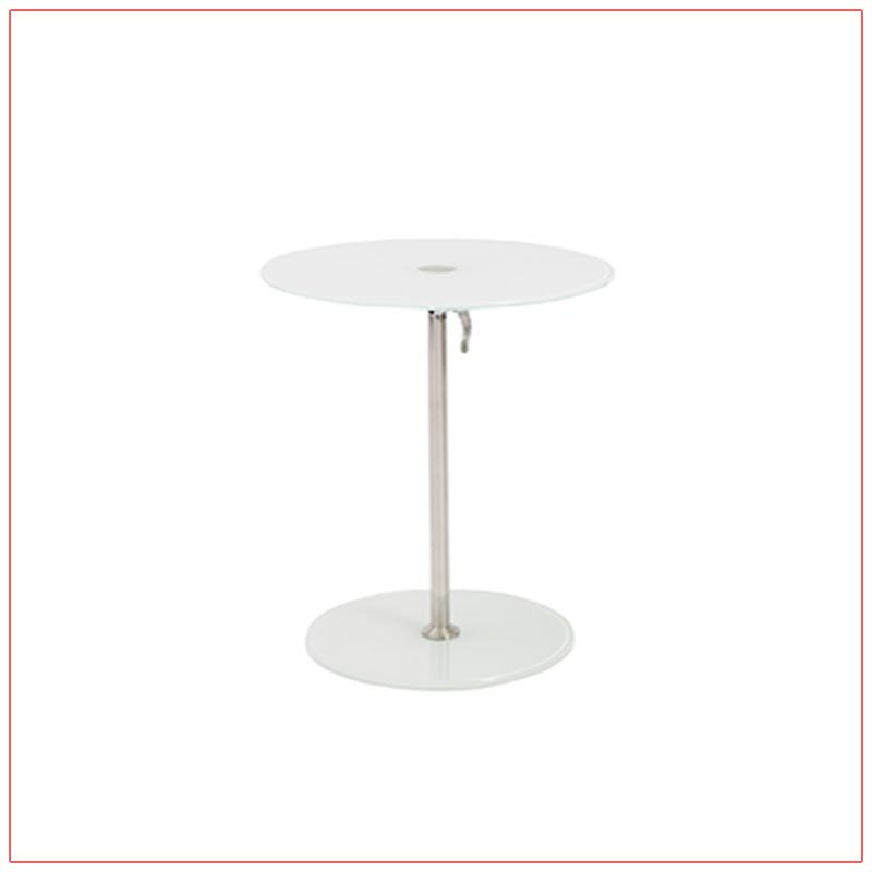 Radin Adjustable End Tables - White - LV Exhibit Rentals in Las Vegas