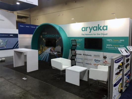 10x20 Trade Show Booth Rental Package 204 - Aryaka - LV Exhibit Rentals in Las Vegas