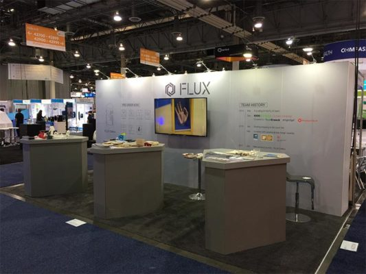 10x20 Trade Show Booth Rental Package 208 Custom - Flux - Angle - LV Exhibit Rentals in Las Vegas