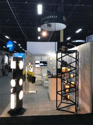 10x20 Trade Show Booth Rental Package 209 - Side View - Avenue Lighting - LV Exhibit Rentals in Las Vegas