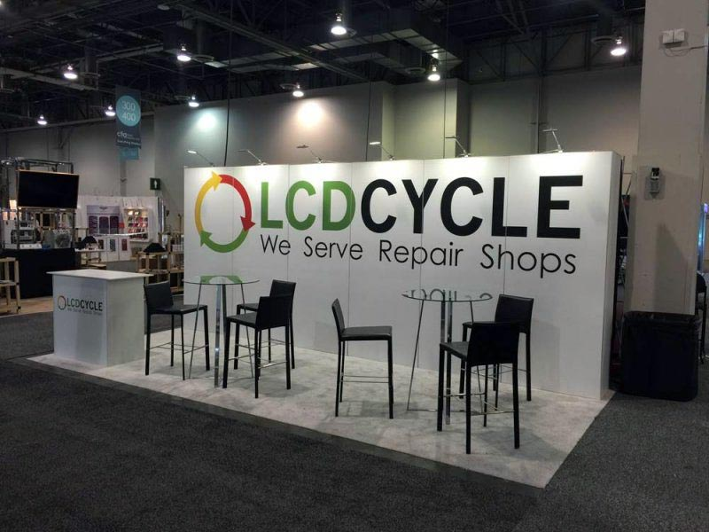 10x20 Trade Show Booth Rental Package 210 - LCDcycle - LV Exhibit Rentals in Las Vegas