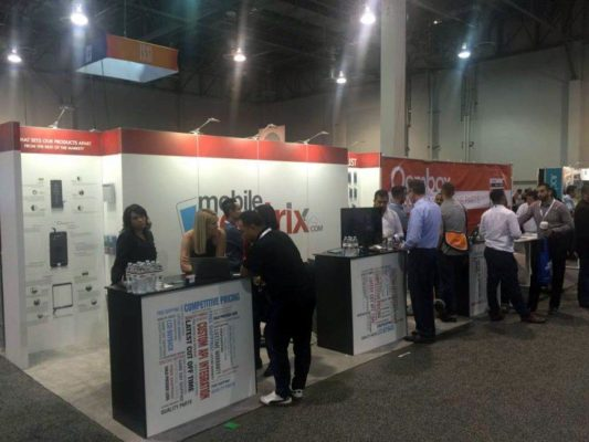 10x20 Trade Show Booth Rental Package 212 -Mobile Sentrix- LV Exhibit Rentals in Las Vegas