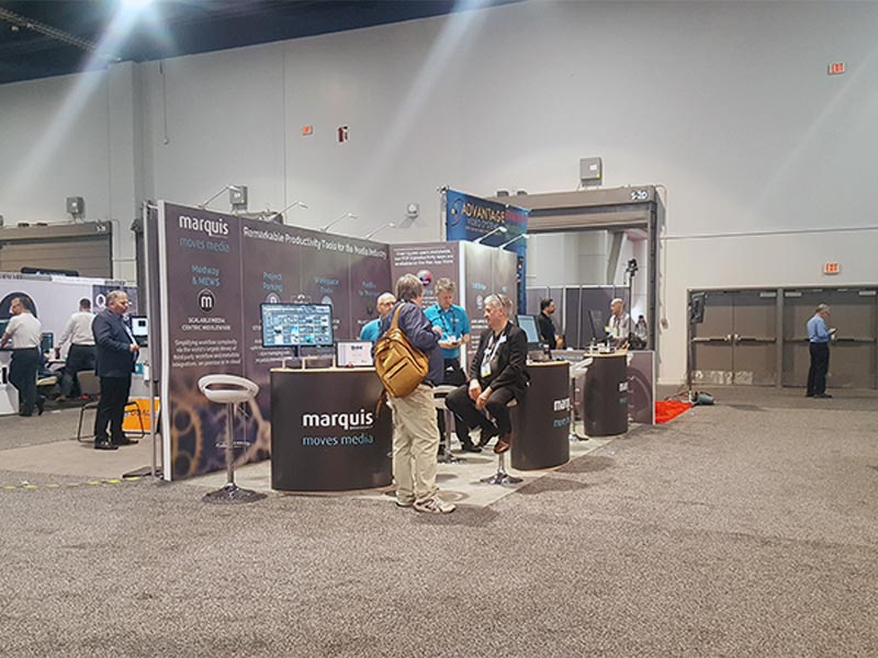 10x20 Trade Show Booth Rental Package 213 Variation - Maquis Broadcast - LV Exhibit Rentals in Las Vegas