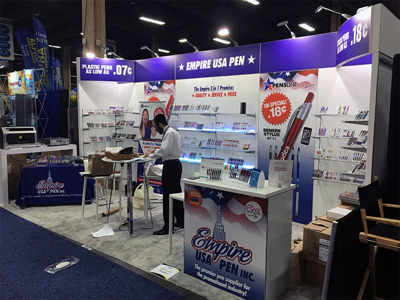 10x20 Trade Show Booth Rental Package 217 - Empire Pen - LV Exhibit Rentals in Las Vegas