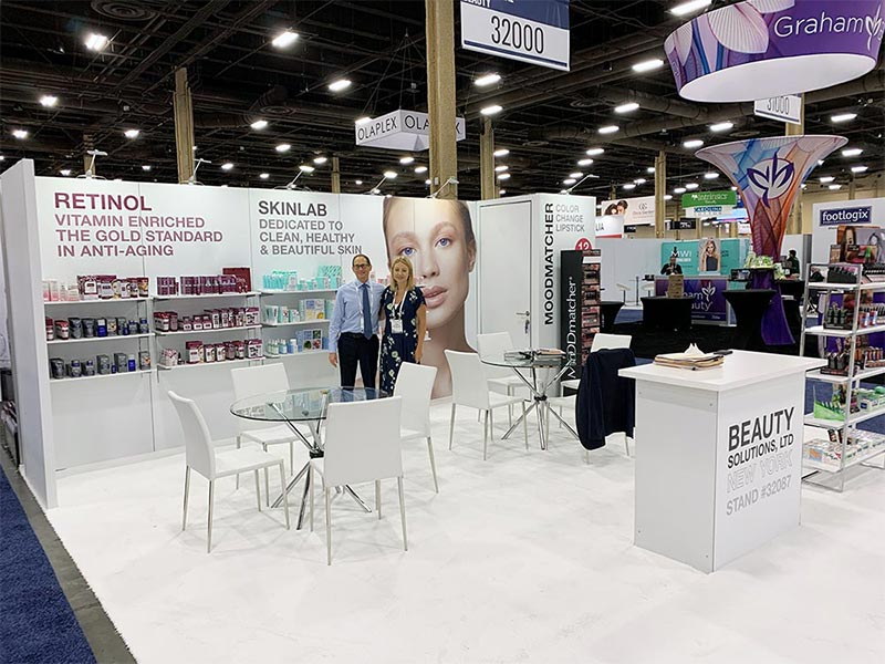 10x20 Trade Show Booth Rental Package 220 - Beauty Solutions - LV Exhibit Rentals in Las Vegas