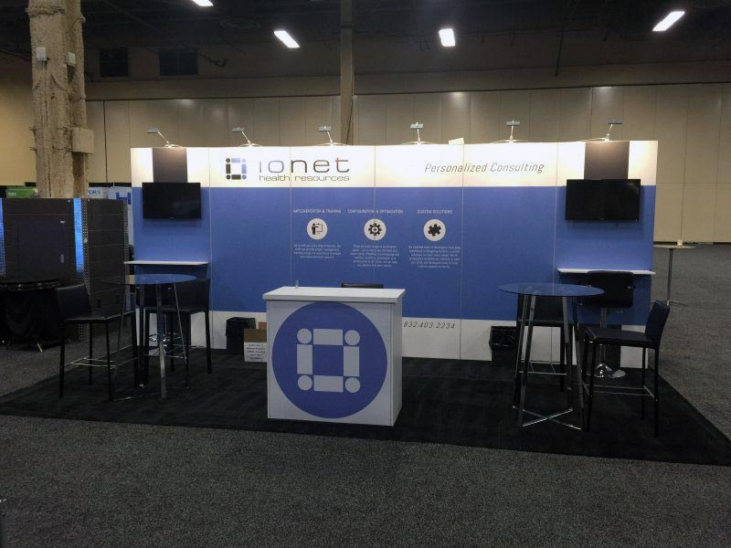 10x20 Trade Show Booth Rental Package 228 Variation - Ionet Health Resources - LV Exhibit Rentals in Las Vegas
