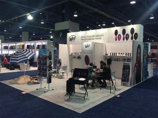 20x20 Trade Show Booth Rental Package 400 - Wetbrush - LV Exhibit Rentals in Las Vegas