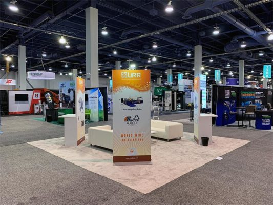 20x20 Trade Show Booth Rental Package 404 - Freestanding Kiosk - LV Exhibit Rentals in Las Vegas