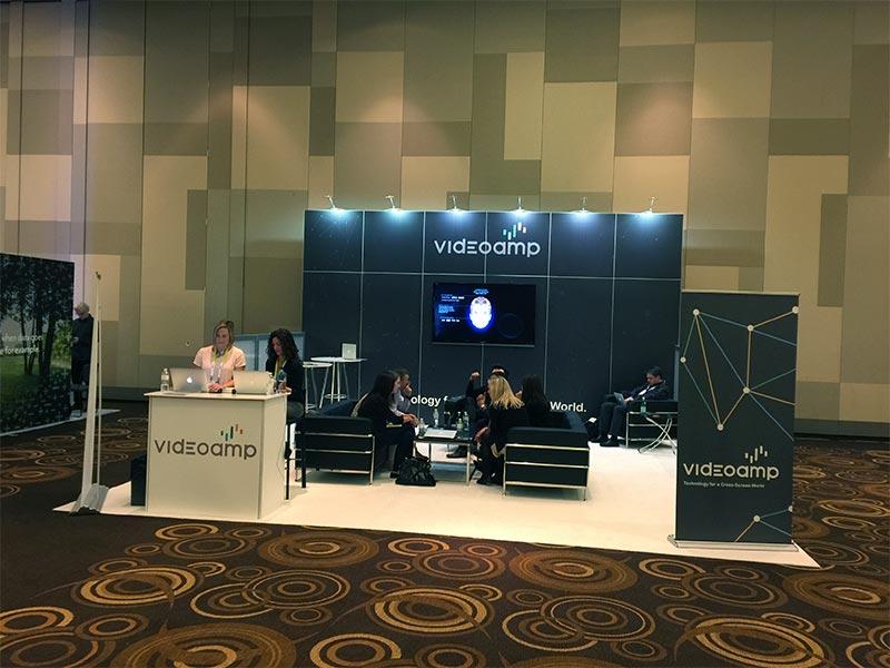 20x20 Trade Show Booth Rental Package 417 - Videoamp - LV Exhibit Rentals in Las Vegas