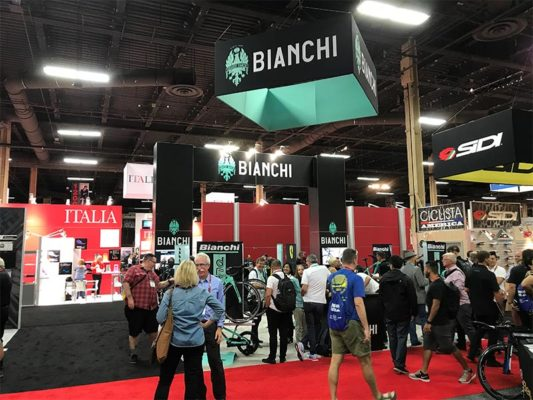 20x20 Trade Show Booth Rental Package 426 - Bianchi - LV Exhibit Rentals in Las Vegas