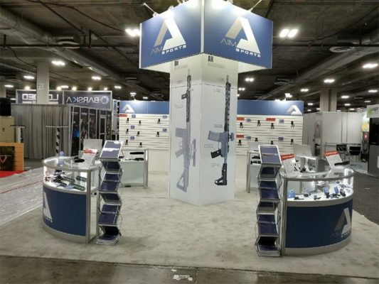 20x20 Trade Show Booth Rental Package 437 - Side View - LV Exhibit Rentals in Las Vegas