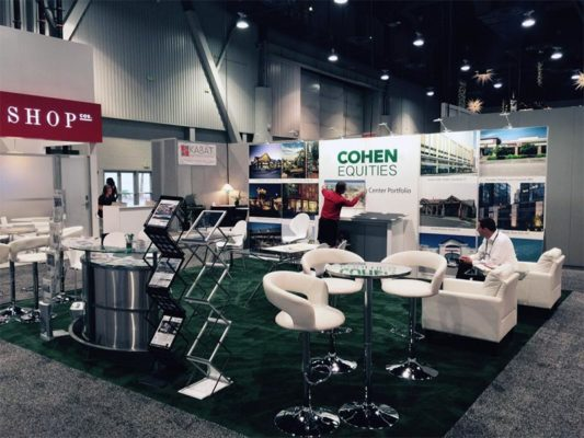 20x20 Trade Show Booth Rental Package - Cohen Equities - Angle View - LV Exhibit Rentals in Las Vegas