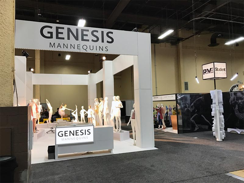 20x40 Custom Trade Show Booth Rental Package - Genesis Mannequins USA - Front View - LV Exhibit Rentals in Las Vegas
