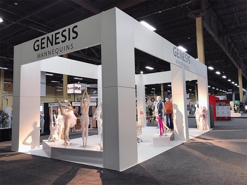 20x40 Custom Trade Show Booth Rental Package - Genesis Mannequins USA - LV Exhibit Rentals in Las Vegas