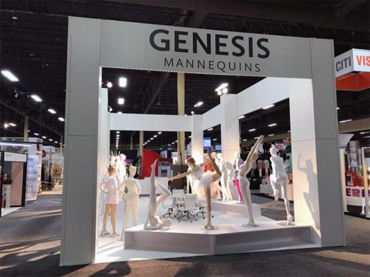 20x40 Custom Trade Show Booth Rental Package - Genesis Mannequins USA - Rear View - LV Exhibit Rentals in Las Vegas