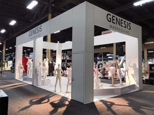 20x40 Custom Trade Show Booth Rental Package - Genesis Mannequins USA - Side View - LV Exhibit Rentals in Las Vegas