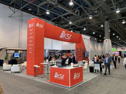 30x40 Custom Trade Show Booth Rental Package - L-Shaped Counter - Recon 2019 - LV Exhibit Rentals in Las Vegas