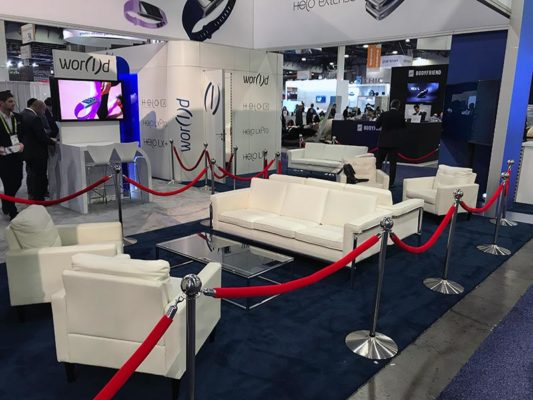 Amanda Sofa with Lounge Chairs in White - LV Exhibit Rentals in Las Vegas