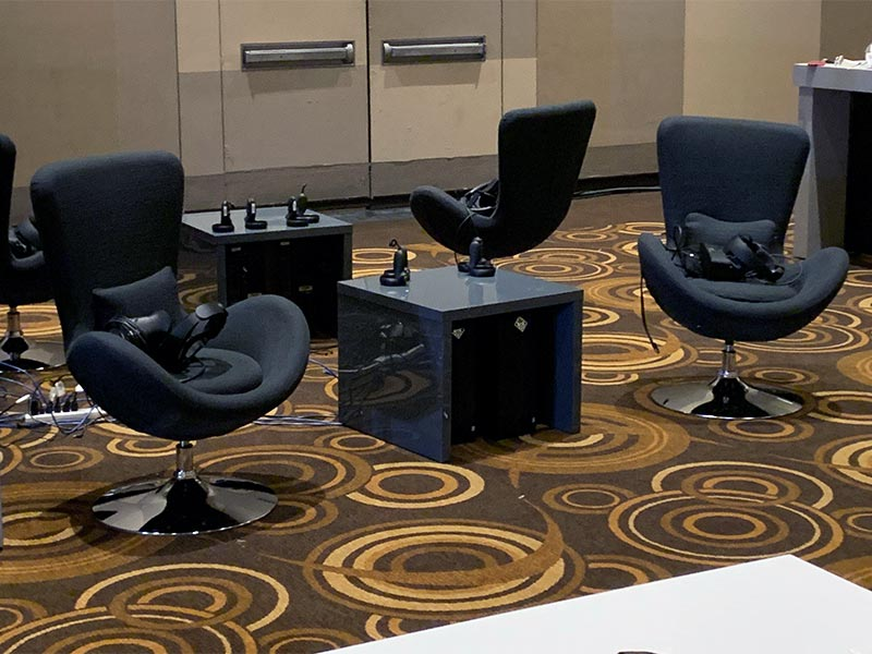 Black Grand Lounge Chairs with Gray Abby End Tables - LV Exhibit Rentals in Las Vegas